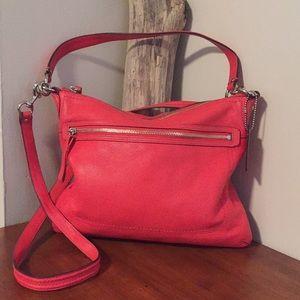 ⭐️ COACH tangerine pebbled leather bag